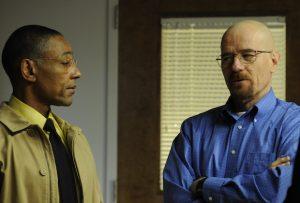 Gus Fring (Giancarlo Esposito) and Walter White (Bryan Cranston) - Breaking Bad - Season 3, Episode 8 - Photo Credit: Ursula Coyote/AMC