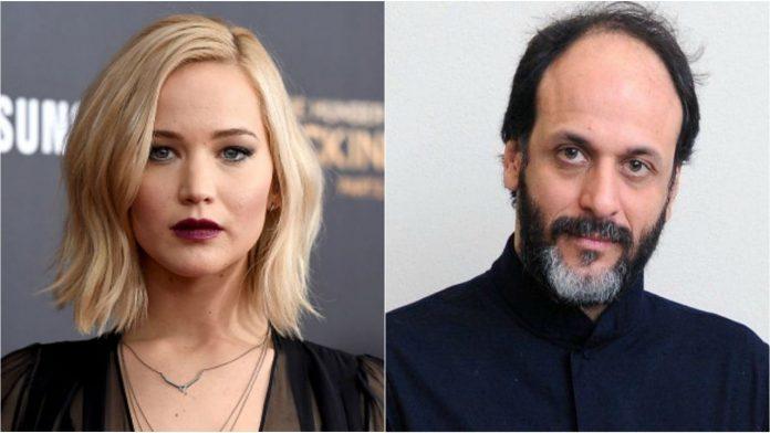 Jennifer Lawrence e Luca Guadagnino, qui ritratti in un collage di due primi piani, collaboreranno nel film Brutal Rites.