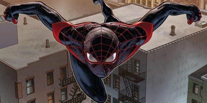 Spider-Man: Un Nuovo Universo vedrà Miles Morales nei panni dell'arrampicamuri, qui disegnato mentre volteggia tra i palazzi, con un costume blu dai dettagli rossi.