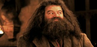 Robbie Coltrane nei panni di Hagrid in Harry Potter