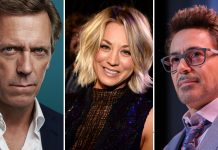 Nell'immagine Hugh Laurie, Kaley Cuoco, Robert Downey Jr.