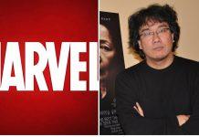 Il regista Bong Joon-ho e il logo Marvel