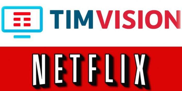 Tim Vision e Netflix, i rispettivi loghi